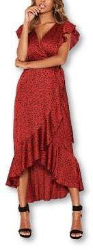 AX Paris Women's Spotty Frill Wrap Dress with D-Ring Belt