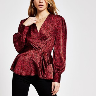 River Island Brown printed frill peplum satin blouse