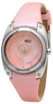 Mother of Pearl DFactory Women's DFI014ZPP White Label Pink and Dial PU and Leather Strap Watch