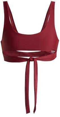 JADE SWIM Bond Tie Straps Bikini Top - Womens - Burgundy