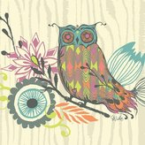 Oopsy Daisy Fine Art For Kids Canvas Wall Art Owl and Foliage by Sarah Watts, 10 by 10-Inch