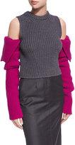 Calvin Klein Knit Cold-Shoulder Colorblock Sweater