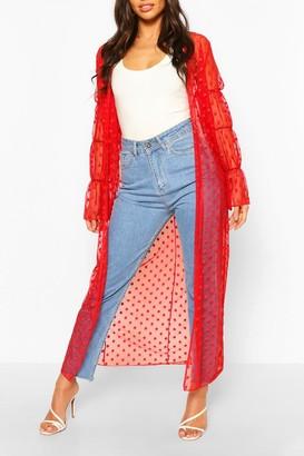 boohoo Dobby Mesh Shirred Sleeve Maxi Kimono