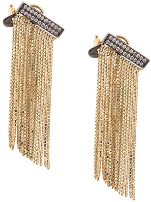 Sorellina 18kt yellow gold AXL fringe bar diamond earrings