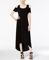 NY Collection Cold-Shoulder High-Low Maxi Dress