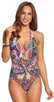 Kenneth Cole Reaction Gypsy Gem Twist Plunge One Piece Swimsuit 8151099