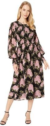 WAYF Crush Smocked Bodice Long Sleeve Midi Dress (Black Roses) Women's Clothing