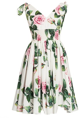 Dolce & Gabbana Rose Print Tie-Shoulder Fit-&-Flare Dress