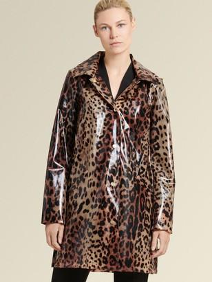 DKNY Donna Karan Women's Glossy Raincoat - Leopard - Size S