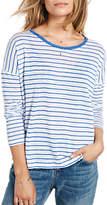 Hush Raw Edge Stripe T-Shirt, White/Bluebird