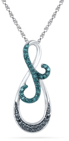Zales 1/5 CT. T.W. Enhanced Black and Blue Diamond Infinity Pendant in Sterling Silver