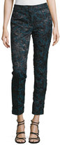 Yigal Azrouel Mid-Rise Skinny Cropped Pants, Lave/Multi