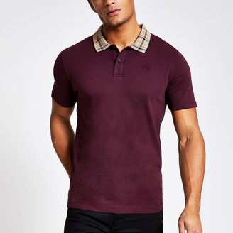 River Island Mens Burgundy check collar slim fit polo shirt