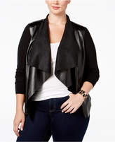MICHAEL Michael Kors Size Faux-Leather-Front Cardigan