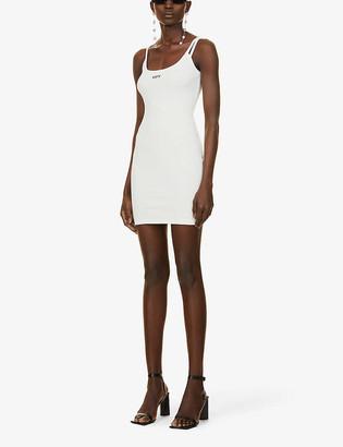 Off-White Logo-print ribbed stretch-cotton mini dress