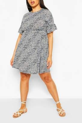 boohoo Plus Mixed Floral Ruffle Sleeve Smock Dress