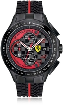Ferrari Race Day Black and Red Stainless Steel Case and Silicone Strap Men's Chrono Watch