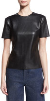 Cédric Charlier Short-Sleeve Faux-Leather Tee, Black