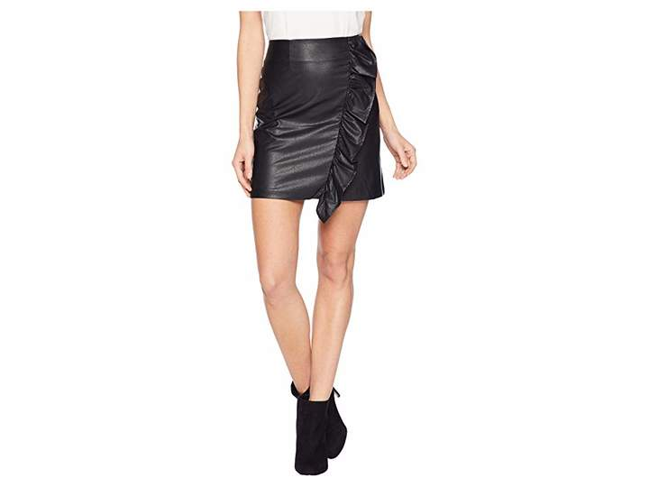 1.STATE Ruffled Faux Leather Mini Skirt