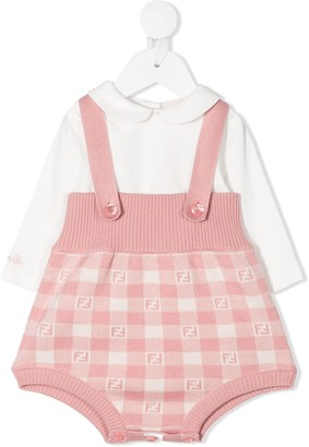 Fendi Kids Shirt And Dungaree Babygrow Set