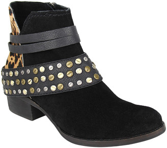 Naughty Monkey Women's Casual boots BLACK - Black & Leopard Studded Crimson Suede Ankle Boot - Women