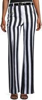 Nina Ricci Striped Sateen Wide-Leg Pants, White/Blue