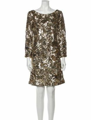Marchesa Silk Mini Dress Gold