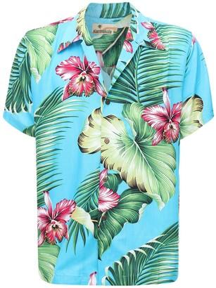 Manoa Turquoise Printed Hawaiian Shirt