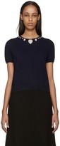 Christopher Kane Navy Jewel Collar Sweater