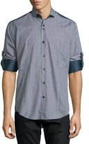 Bogosse Plaid Long-Sleeve Sport Shirt w/Solid Panels, Navy