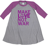 Urban Smalls Heather Gray & Purple 'Love Not War' Raglan Dress - Toddler & Girls