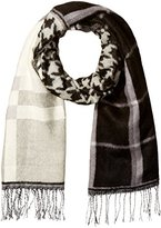 D&Y Women's Mixed Plaid and Houndstooth Oblong Scarf with Fringe