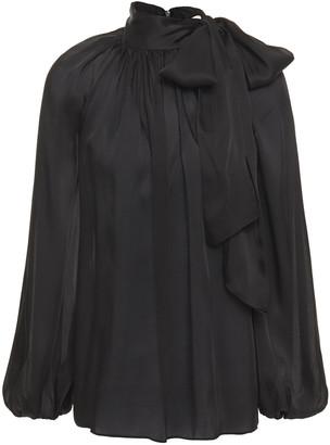 Zimmermann Pussy-bow Gathered Silk-satin Blouse