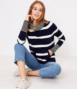 LOFT Striped Pocket Cowl Neck Sweater