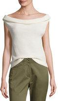 Veronica Beard Stone Cap-Sleeve Ribbed Silk-Blend Sweater, Ivory