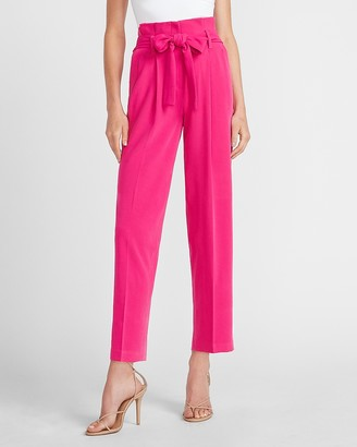 Express High Waisted Belted Ankle Paperbag Pant