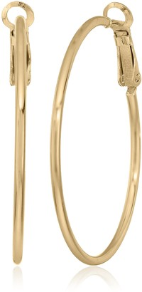Amazon Collection Gold Plated Sterling Silver Lightweight Paddle Back 20mm Hoop Earrings