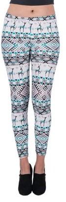 Aerusi Women's Snowbound Design Full Length Stretchy Leggings