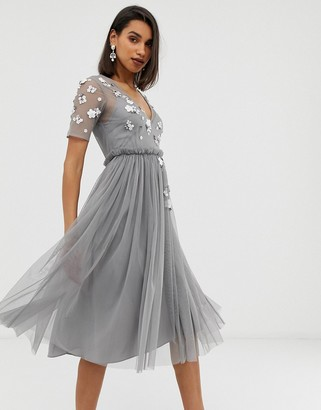 Asos Design DESIGN T-Shirt midi dress with 3D scatter embellished and mesh skirt-Grey