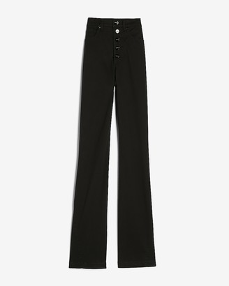 Express Super High Waisted Button Fly Flare Twill Pant