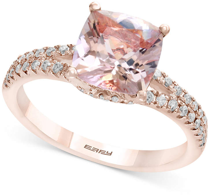 Effy Gemstone Bridal by Morganite (1-5/8 ct. t.w.) & Diamond (1/4 ct. t.w.) Ring in 18k Rose Gold