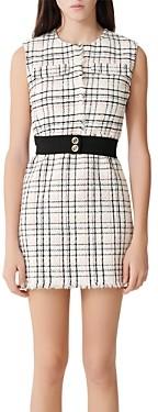 Maje Rianey Belted Tweed Mini Dress