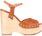 Vanessa Seward Danae wedge sandals - women - Leather/wood/rubber - 35