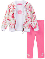 Betsey Johnson Tee, Floral Bomber Jacket, & Legging Set (Toddler Girls)