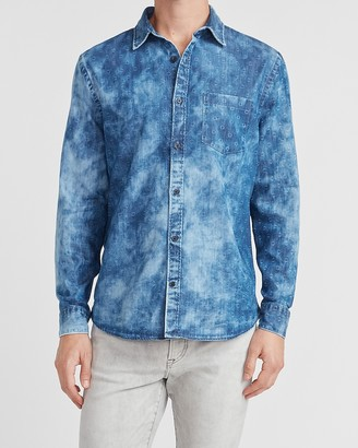 Express Printed Faded Denim Shirt