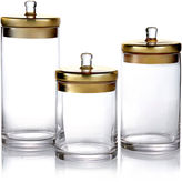 Jay Import S/3 Glass Canisters w/Gold Lids