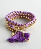 Ettika Orchid Leather And Gold Woven Wrap Tassel Bracelet