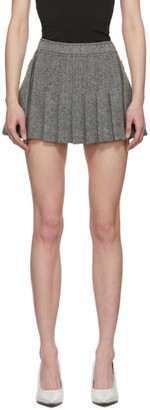 we11done Grey Zip Detail Pleated Miniskirt