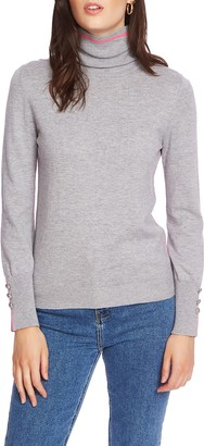Court & Rowe Button Cuff Tipped Turtleneck Sweater