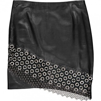 Anthony Vaccarello Black Leather Skirts